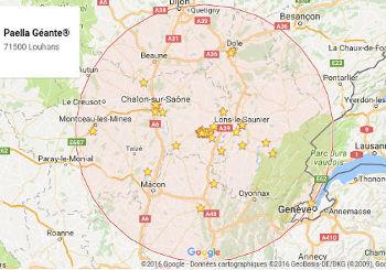 PAELLA GÉANTE intervient en France sur de nombreux événements et à domicile dans un rayon d'action étendu à 80kms autour de Louhans et plus pour certains événements.
